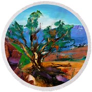 Among The Red Rocks - Sedona Round Beach Towel by Elise Palmigiani