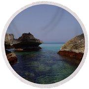 Among The Rocks Round Beach Towel