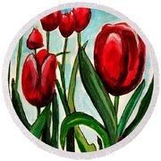 Among The Tulips Round Beach Towel