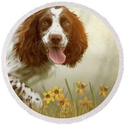 Amongst The Flowers Round Beach Towel