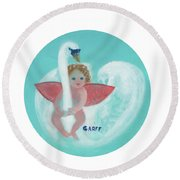 Amorino With Swan Round Beach Towel
