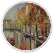 Amsterdam Autumn With Boat Round Beach Towel
