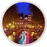 Amsterdam By Night Round Beach Towel