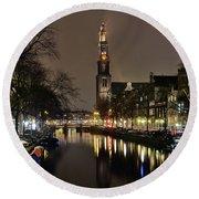 Amsterdam By Night - Prinsengracht Round Beach Towel