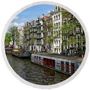 Amsterdam Canal Round Beach Towel by Anthony Dezenzio