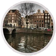 Amsterdam Canal Bridge Round Beach Towel
