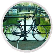 Round Beach Towel featuring the photograph Amsterdam Scene by Allen Beatty
