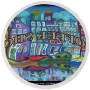 Amsterdam Through The Coffee Shop Window Round Beach Towel