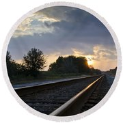 Amtrak Railroad System Round Beach Towel