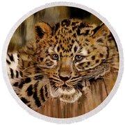Amur Leopard Cub Round Beach Towel