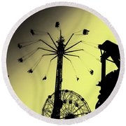 Amusements In Silhouette Round Beach Towel