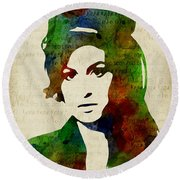 Amy Winehouse Watercolor Round Beach Towel