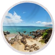 Round Beach Towel featuring the photograph Amzing Beach In Hawaii Islands by Micah May
