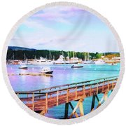 An Abstract View Of Southwest Harbor, Maine  Round Beach Towel