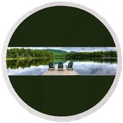 Round Beach Towel featuring the photograph An Adirondack Panorama by David Patterson