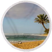 An Afternoon At Sunset Beach Round Beach Towel