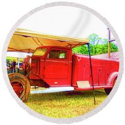 Round Beach Towel featuring the painting An Antique Fire Department Vehicle On Display 1 by Lanjee Chee