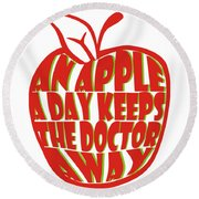 An Apple A Day Round Beach Towel
