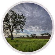 Round Beach Towel featuring the photograph An April Sunday Morning by Tim Bryan