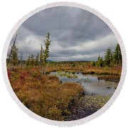 Round Beach Towel featuring the photograph An Autumn Afternoon On Raquette Lake by David Patterson