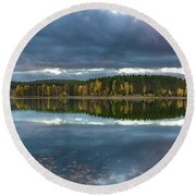 An Autumn Evening At The Lake Round Beach Towel
