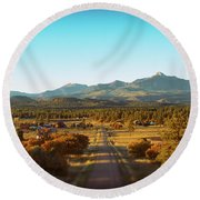 An Autumn Evening In Pagosa Meadows Round Beach Towel