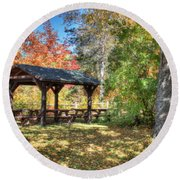 Round Beach Towel featuring the photograph An Autumn Picnic In Maine by Shelley Neff