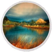 An Autumn Storm Round Beach Towel