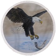 Round Beach Towel featuring the painting An Eagles Easy Catch by Kelly Mills