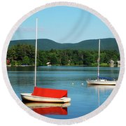 An Early Calm On A Berkshire Lake Round Beach Towel by James Kirkikis