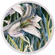 Round Beach Towel featuring the painting An Easter Lily by Mindy Newman