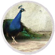 Round Beach Towel featuring the digital art An Elegant Dance by I'ina Van Lawick