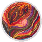 Round Beach Towel featuring the painting An Ending by Ania M Milo