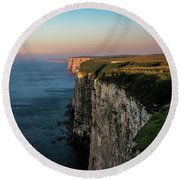 An Evening At Bempton Cliffs Round Beach Towel
