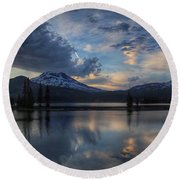 Round Beach Towel featuring the photograph An Evening At Sparks Lake by Lynn Hopwood
