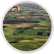 An Evening Flight Agriculture Art By Kaylyn Franks Round Beach Towel
