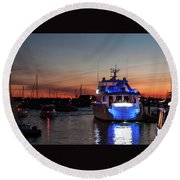 Round Beach Towel featuring the photograph An Evening In Newport Rhode Island II by Suzanne Gaff