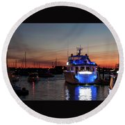 Round Beach Towel featuring the photograph An Evening In Newport Rhode Island Iv by Suzanne Gaff