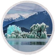 An Iceberg In The Inside Passage Of Alaska Round Beach Towel