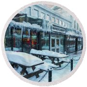 An Icy Quincy Market Round Beach Towel