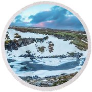 An Icy Waterfall Panorama During Sunrise In Iceland Round Beach Towel by Joe Belanger