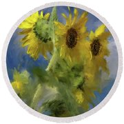 Round Beach Towel featuring the photograph An Impression Of Sunflowers In The Sun by Lois Bryan