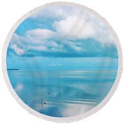 An Ocean Like Glass Round Beach Towel