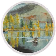 Round Beach Towel featuring the painting An October Day by Winslow Homer