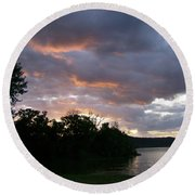 An Ohio River Valley Sunrise Round Beach Towel