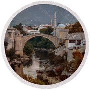 An Old Bridge In Mostar Round Beach Towel