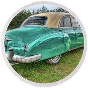 Round Beach Towel featuring the photograph An Old Chevy By The Road In Rural Maine by Guy Whiteley