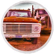 Round Beach Towel featuring the photograph An Old Ford And Kenworth by Jeff Swan