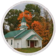 An Old Ohio Country Church In Fall Round Beach Towel