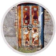 An Old Rusty Door In Katakolon Greece Round Beach Towel